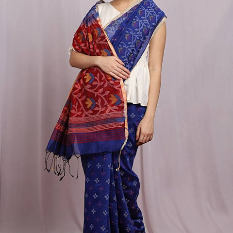 Handcrafted Jute Cotton Hand Print Blue Saree