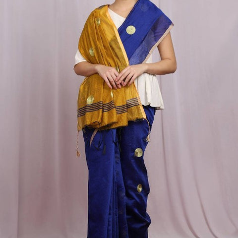 Handcrafted Jute Cotton Embroidery Blue Saree