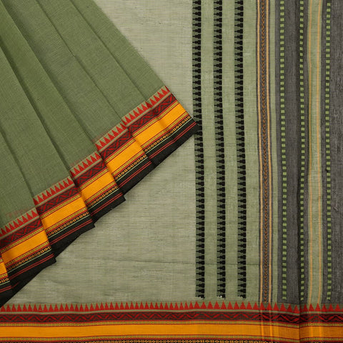 Begampur Cotton Green Saree with Ganga Jamuna border