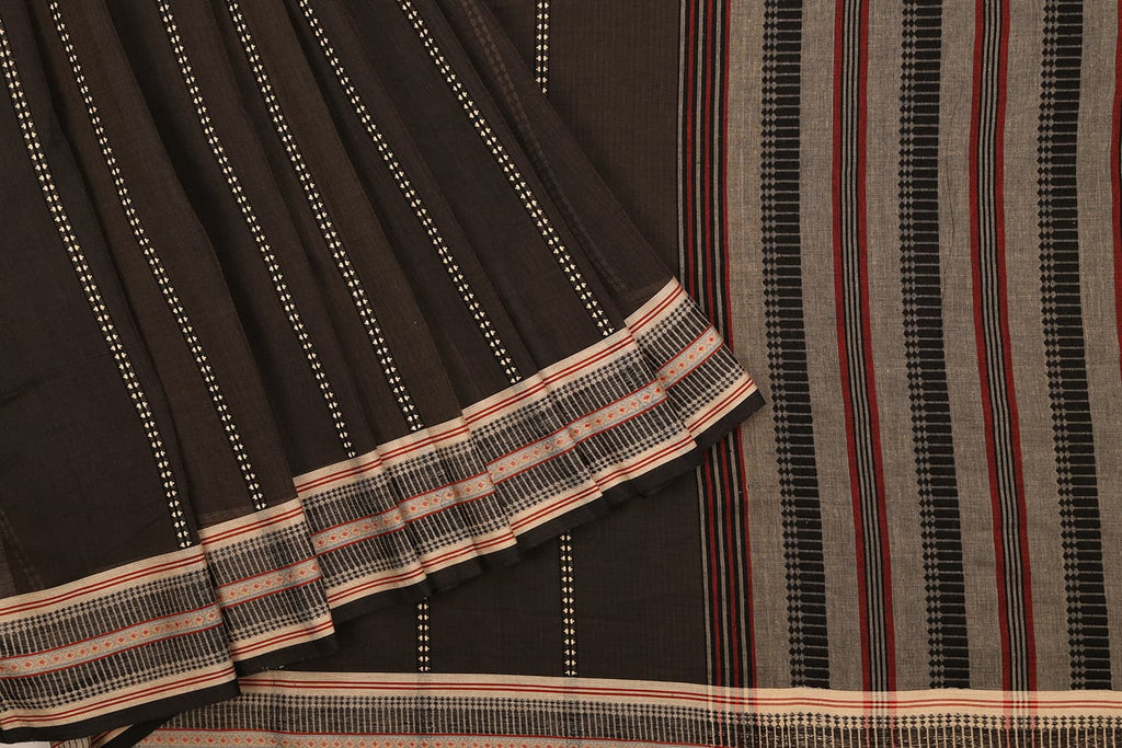 Begampur Cotton Black Saree with Naksha border