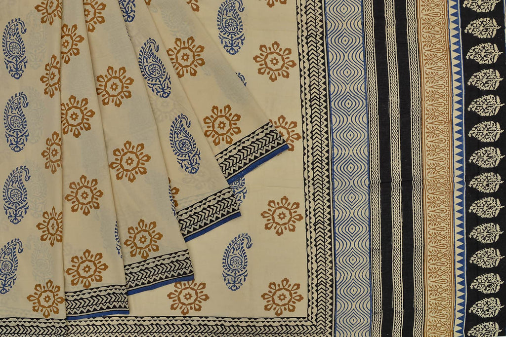 cotton Bagru dobi block print cream paisely and floral Motif Saree