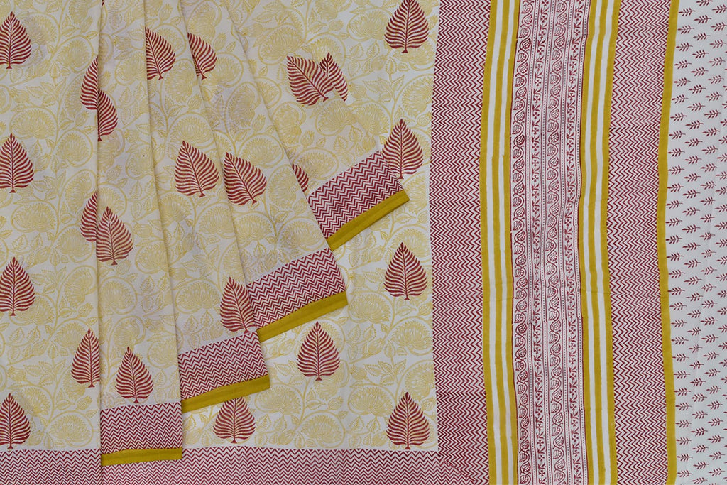 cotton Bagru dobi block print beige leaf Motif Saree