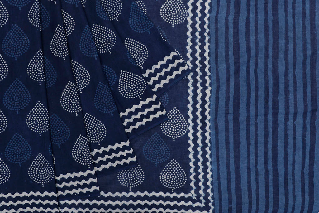 cotton Bagru dobi block print indigo leaf butta Motif Saree