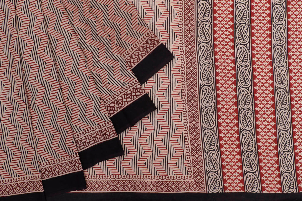 cotton Bagru dobi block print beige abstract design Motif Saree