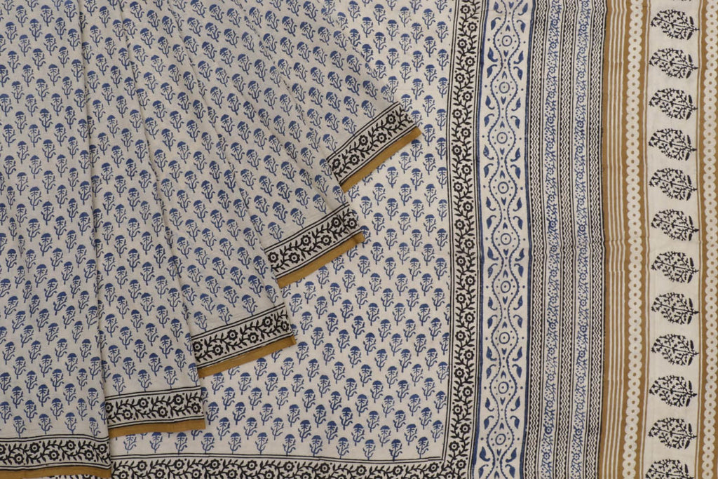 cotton Bagru dobi block print white floral butta Motif Saree
