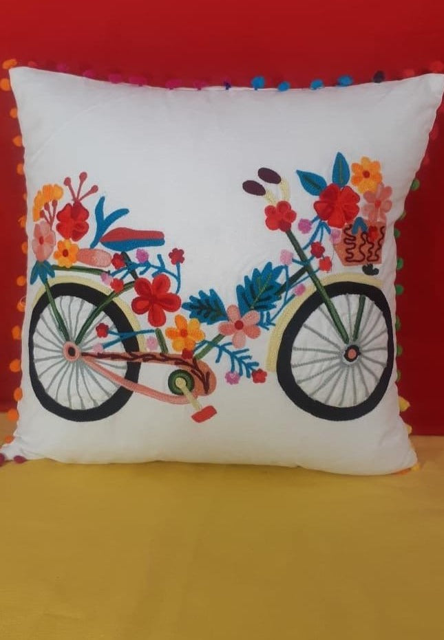 Set of 2 Hand Crafted Multicolor Cotton Cushion Cover (46.99cm x 44.45cm)