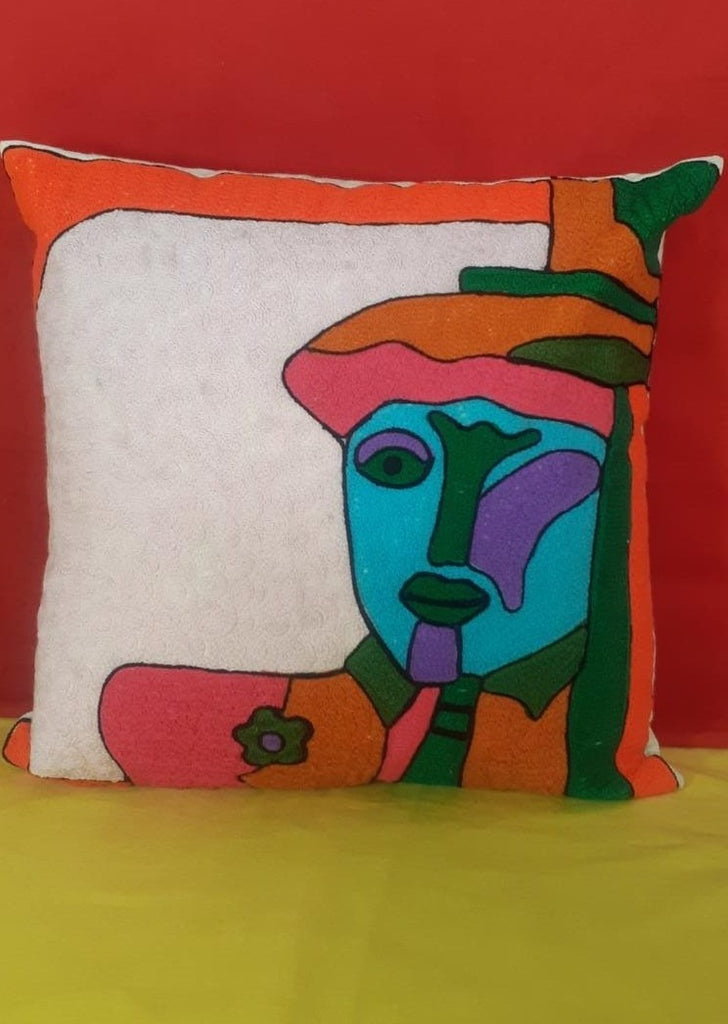 Hand Crafted Multicolor Cotton Cushion Cover (46.99cm x 44.45cm)