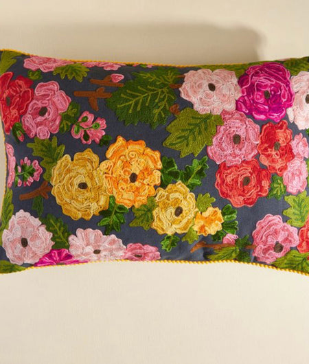 Hand Crafted Multicolor Cotton Cushion Cover (50.8cm x 30.48cm)