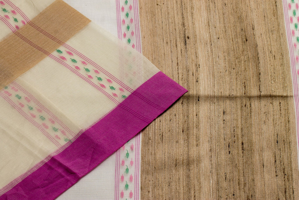 Bengal Cotton Woven Work Striped Beige Saree