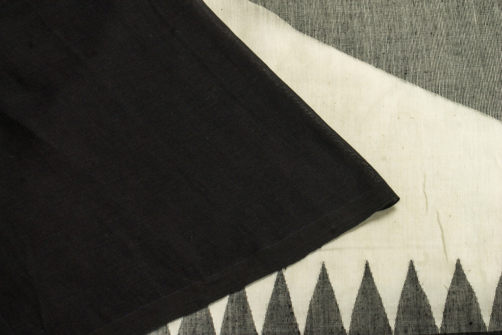 Bengal  Handwoven Black & Grey Plain Body Saree