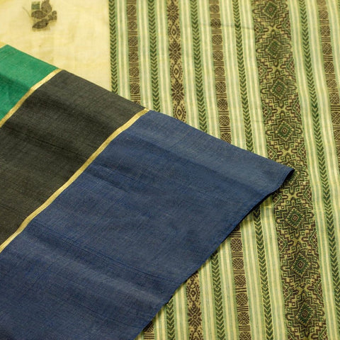 Bengal Cotton Saree with Green Floral Booti