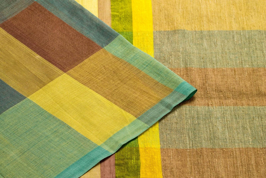 Bengal Cotton Saree with Checks Pattern in Yellow and Blue