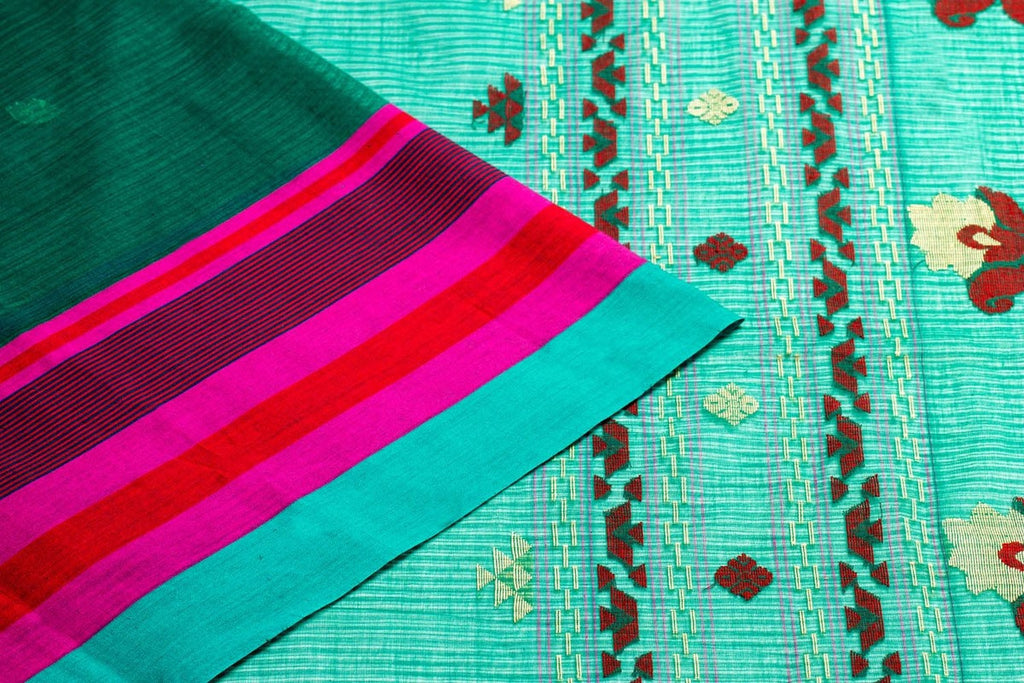 Bengal Cotton Aqua Green Saree with Floral Motif