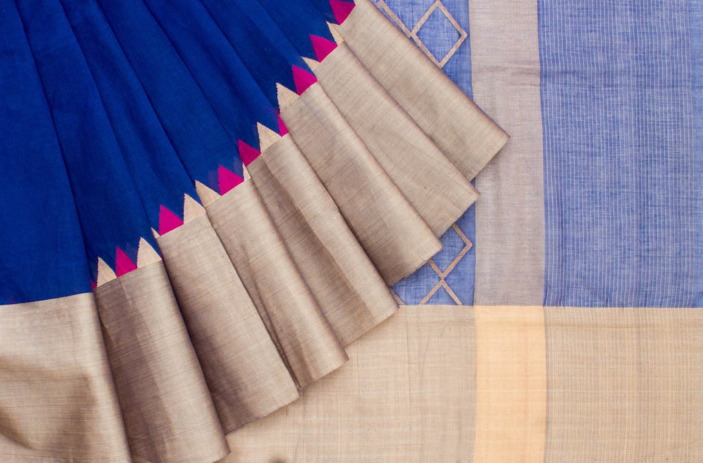 Bengal Cotton Blue Saree with Floral Motif