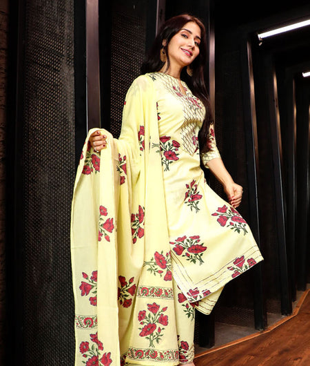 Hand Block Yellow Cotton Kurta Palazzo Dupatta Set