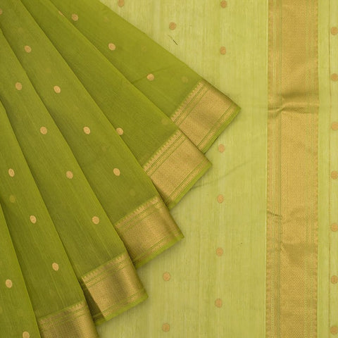 Chanderi Silk Cotton green saree