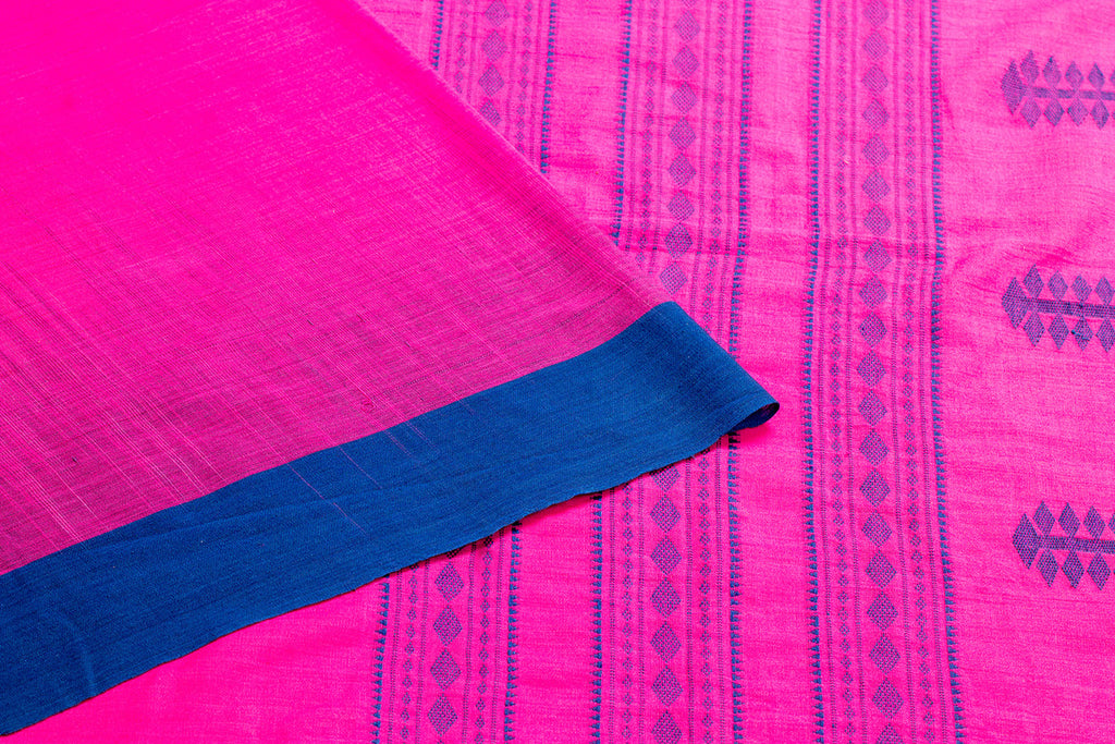 Bengal Handwoven Cotton Magenta Plain Saree