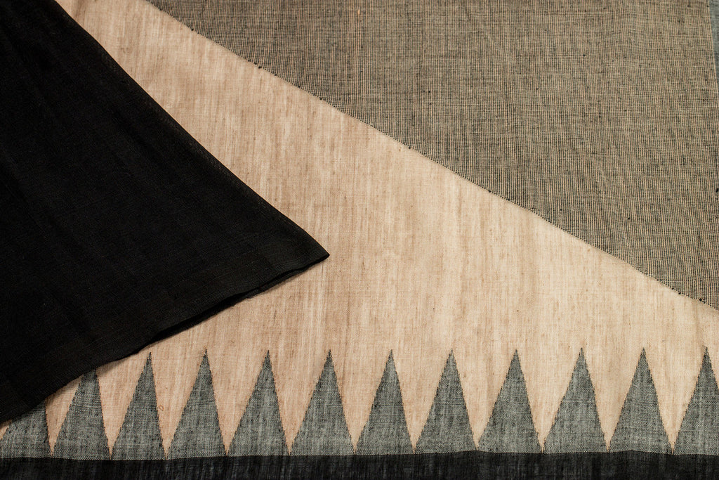 Bengal Handwoven Beige And Black Plain Saree
