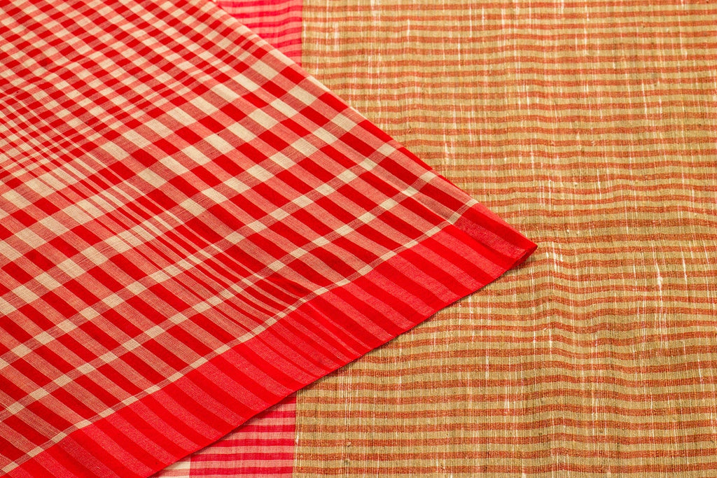 Bengal Handwoven Cotton Plain Red Saree