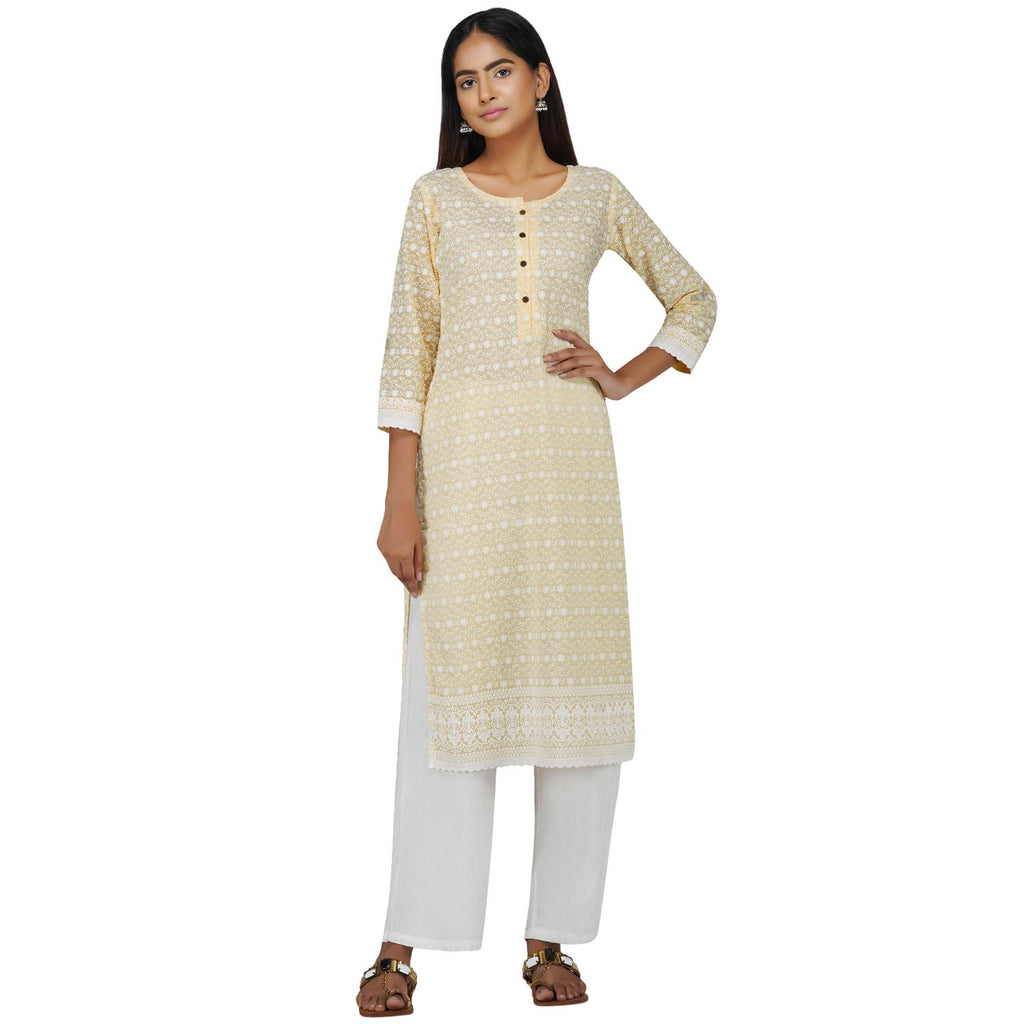 Lucknowi Chikankari Yellow Overall Kurti On Pure Mulmul