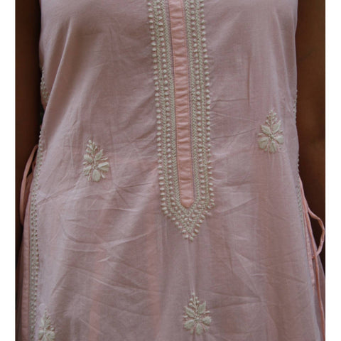 Embroidery Peach Cotton Chikankari Kurta