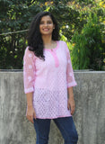 Embroidery Pink and White Georgette Chikankari Top