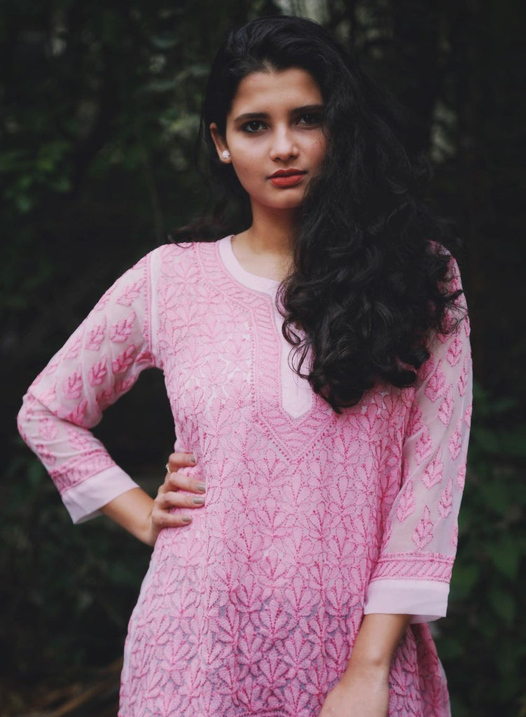 Embroidery Pink Georgette Chikankari Top