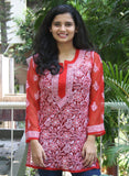 Embroidery Red Georgette Chikankari Top