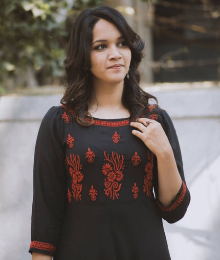 Embroidery Black Rayon Chikankari Dress