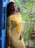 Embroidery Yellow and White Georgette Chikankari Kurta