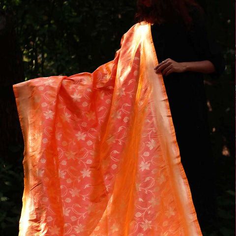 Hand Woven Orange Silk Banarasi Dupatta