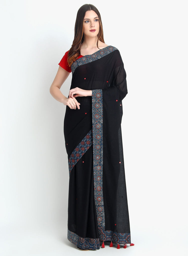 Handloom Cotton Malmal Hand Embroidered Mirror Work Black Saree
