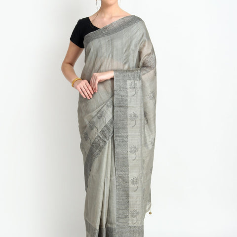 Handloom Tussar Silk Hand Print Grey Saree