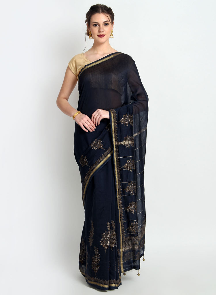 Handloom Silk Chanderi Hand Print Navy Blue Saree