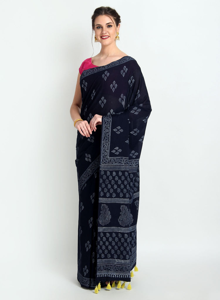 Handloom Cotton Malmal Hand Print Navy Blue Saree