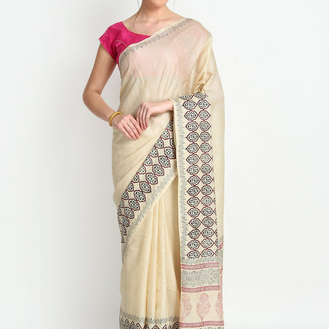 Handloom Tussar Silk Hand Print Cream Saree