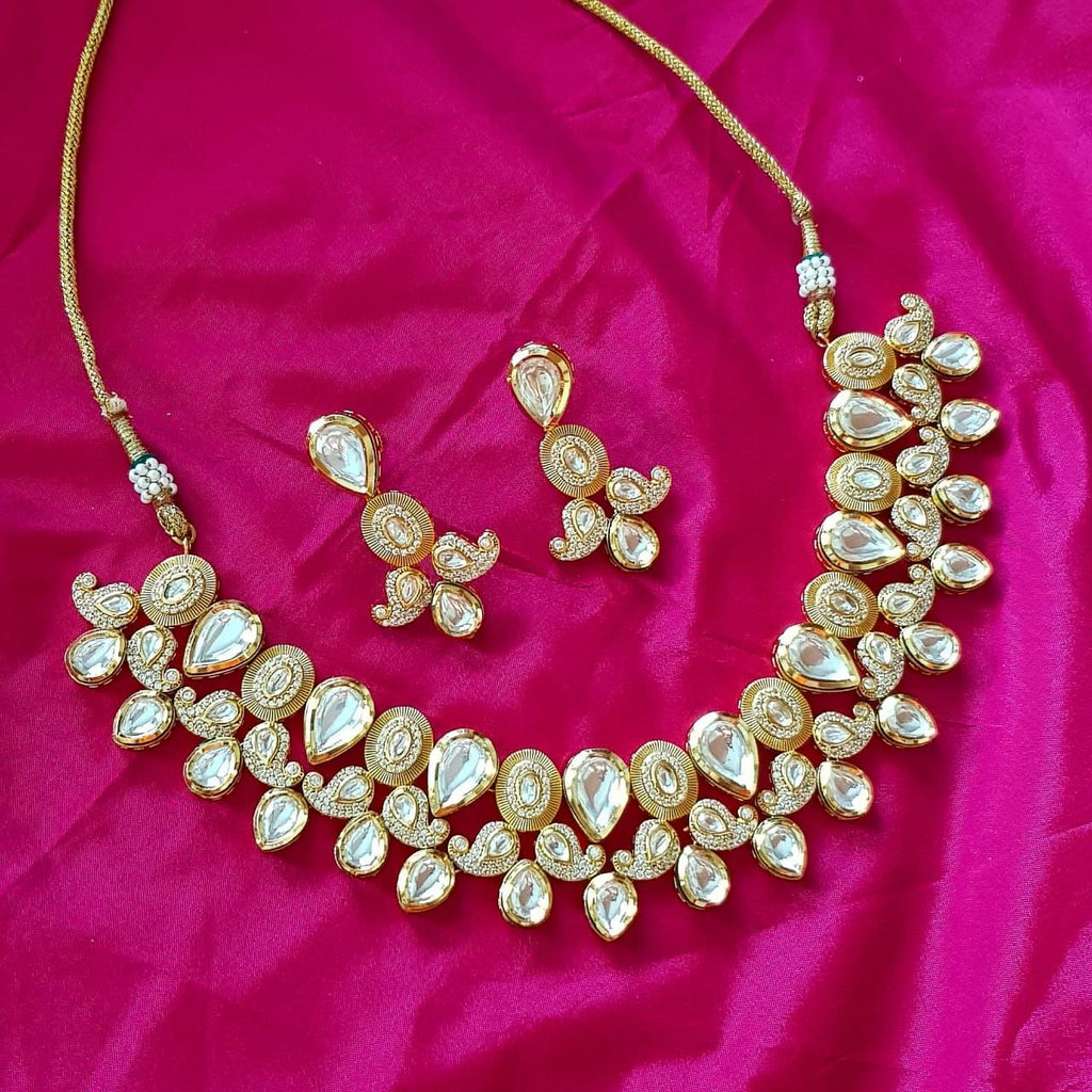 Gold Plated Kundan Stones Necklace And Earring Set
