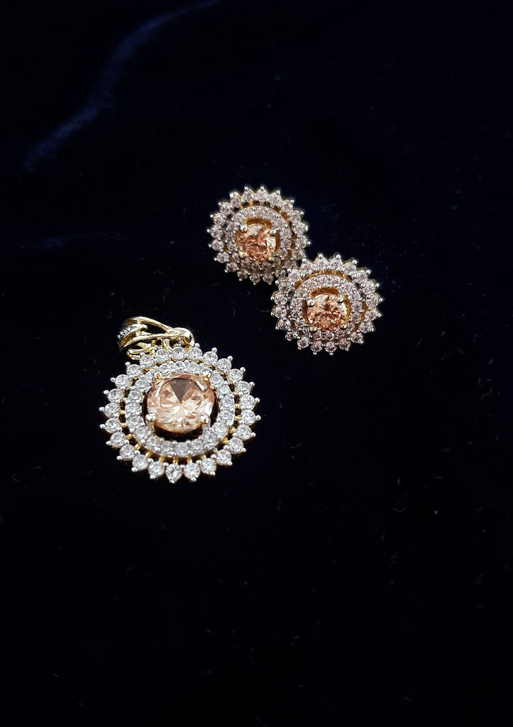 Gold Plated Diamonds Necklace And Earring Set