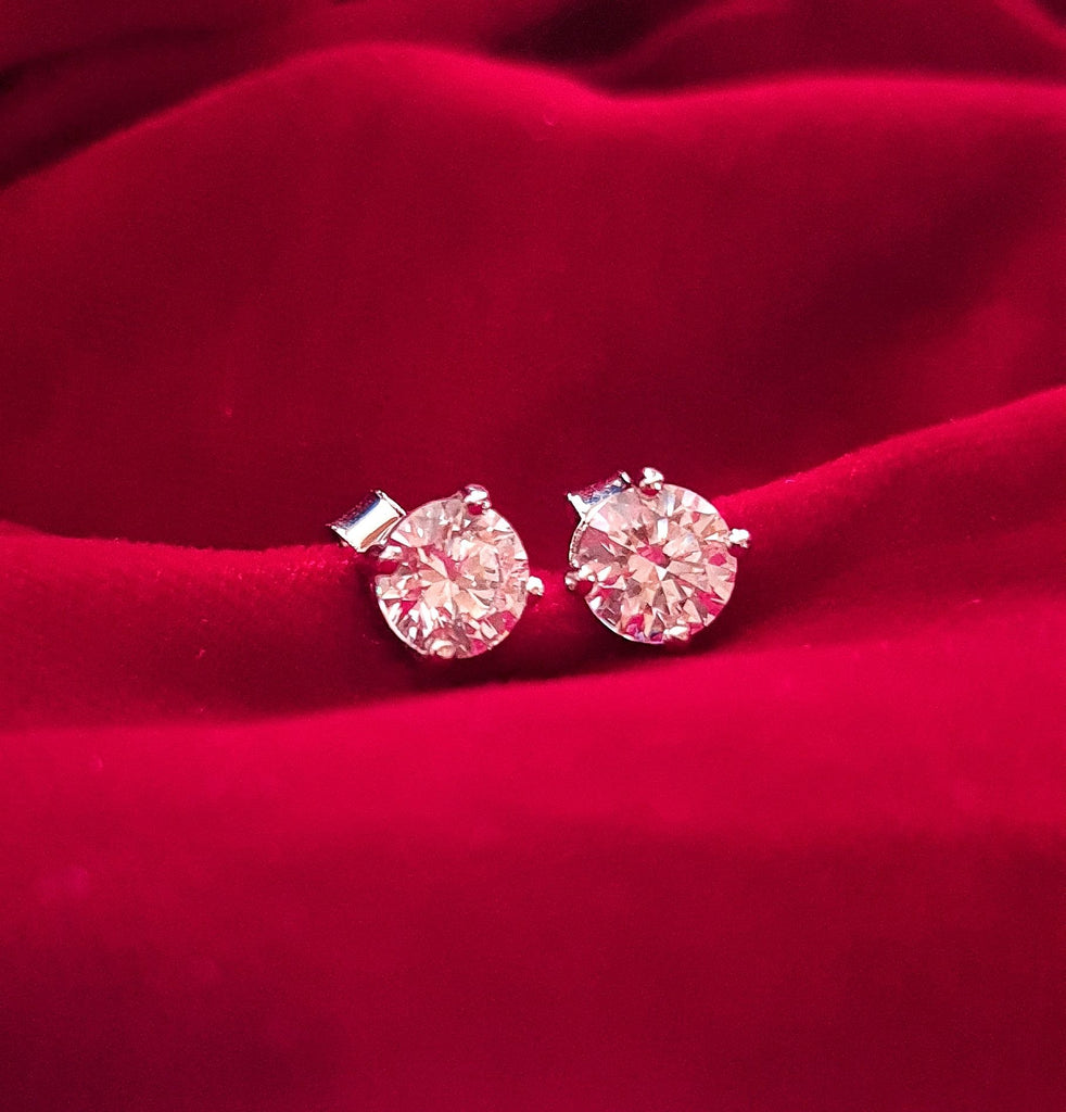 White Gold Plated Swarovski Solitaire Earrings