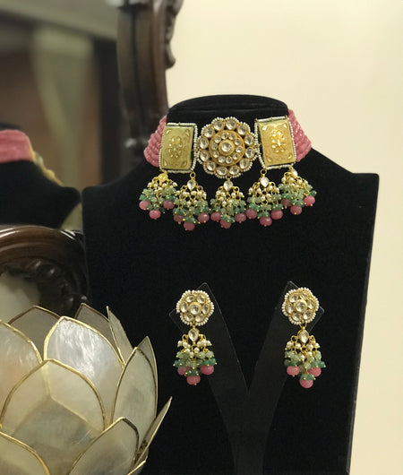 Pink Pearls kundan monalisa Necklace