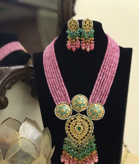 Light pink Kundan Onyx Necklace