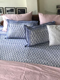 Hand Block Printed Blue Floral Butta Bed Cover (90in x 108in) with Pillow Cases (19in x 29in)
