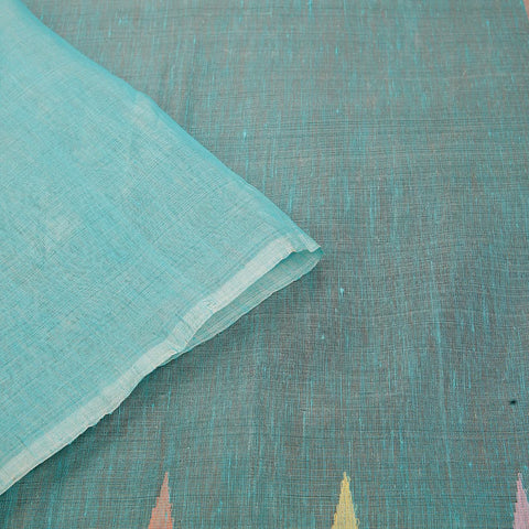 handwoven silk linen Sky blue plain Saree