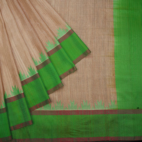 handwoven gadwal silk Beige plain Saree