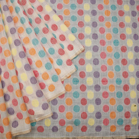 handwoven muga tussar Cream multiclor polka dots Saree