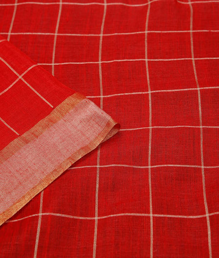 handwoven tussar Red light checks Saree