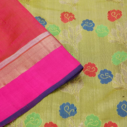 handwoven chanderi silk Yellow plain Saree