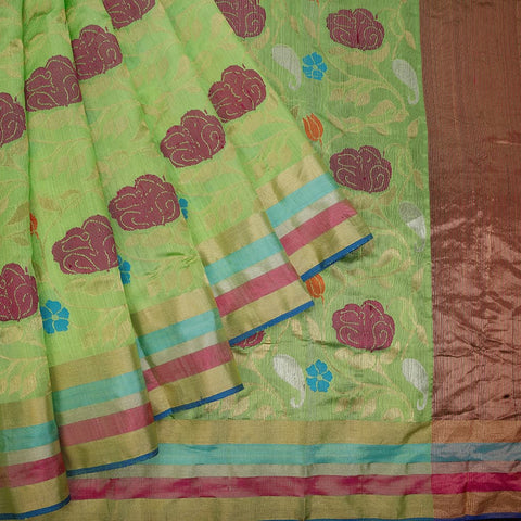 handwoven chanderi silk Parrot green jangala Saree