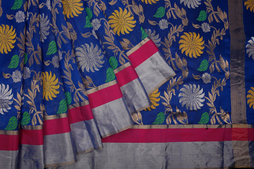 handwoven chanderi silk Blue jangala Saree