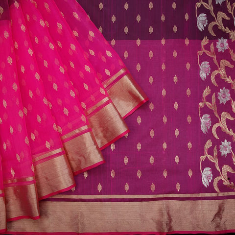 handwoven chanderi silk Pink and wine leaf butti Saree